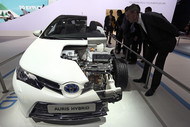Cut-away of Toyota's Auris hybrid at Paris auto show