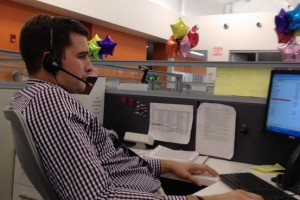 Handling a customer call at PNC's new Pittsburgh center