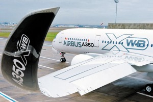 The A350's curved wingtips reduce drag and increase fuel efficiency