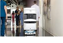 The Aethon Tug mobile robot delivering meds at U. of Maryland hospital