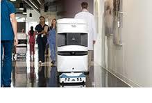 The Aethon Tug mobile robot delivering meds at U. of Maryland hospital