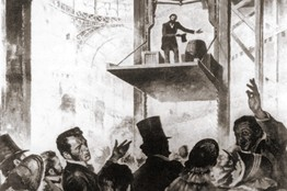 "Otis demonstrating his ""safety lift"" in 1854"