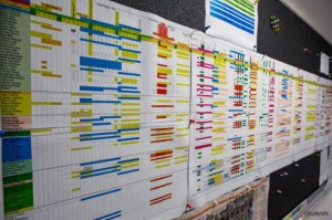 This is a sample master schedule which shows every event, staff member, team vehicle