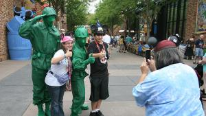 Toy soldier characters greet Disney visitors