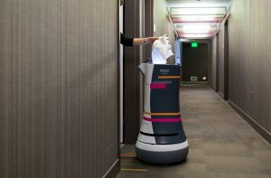 Robotic bellhop delivers fresh towels to a Silicon Valley hotel