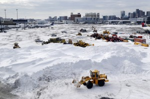 Workers at Boston's Logan Airport faced a mountain of snow last week