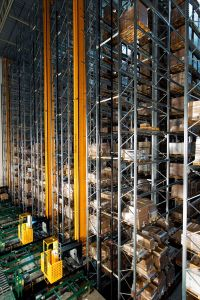 At Ikea's distribution center in Älmhult, Sweden, pallets are stacked and retrieved through a fully automated process.