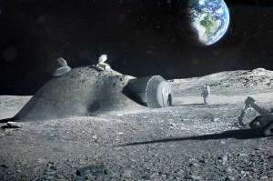 The European Space Agency's proposed moon colony to be built on site by a robotic 3-D printer using lunar dust as ink