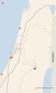 Desalination plants in Israel are marked in red