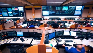 Union Pacific's dispatch center in Omaha, where workers direct as many as 1,000 trains per day across 23 states