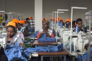 Women at work in Addis Ababa at the GG Super Garment factory