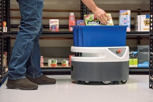 The Fetch warehouse robot can carry as much as 150 pounds at a time