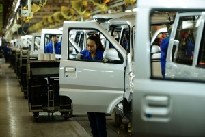 Workers at SAIC-GM-Wuling Automobile in Qingdao