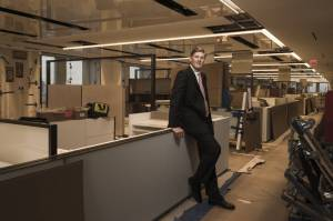 Citigroup CEO Michael Corbat at the bank's HQ, under renovation. Corbat says the open floor plan will encourage communication.
