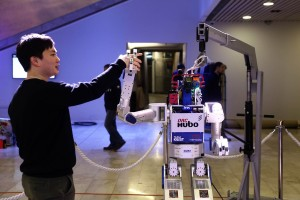 A technician demonstrates the Hubo robot at the World Economic Forum (WEF) in Davos