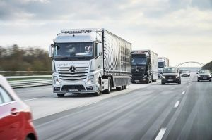 Platooning: Two trucks follow a lead driver in a semiautonomous convoy from Stuttgart to Rotterdam.
