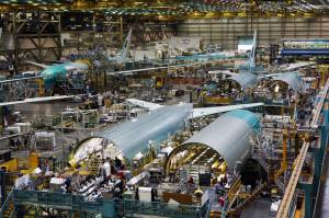 A Boeing 777 assembly line at the company's Everett, Wash., production facility