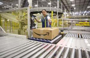 An employee at Amazon's center in Schertz, Texas