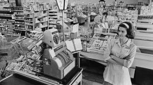 Supermarket checker in 1960s Denver